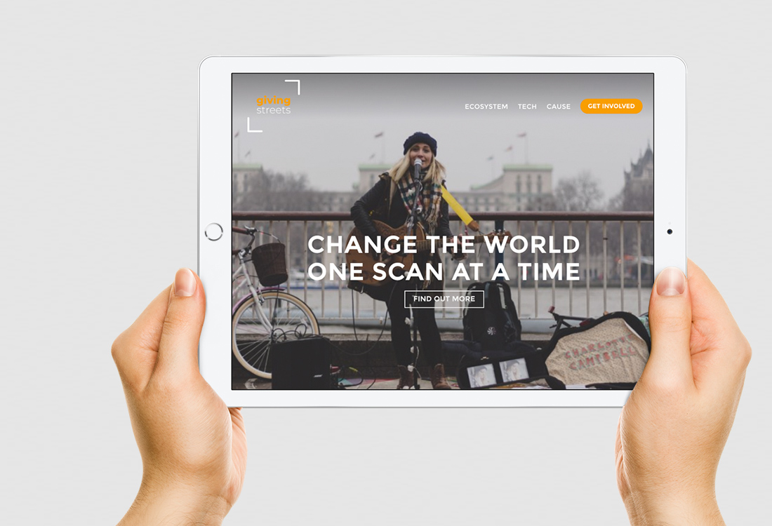 GivingStreets Startup - Brand Identity, Responsive Website and Mobile Application